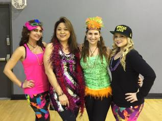 Instructor, Itza Cabrera and her friends strike a pose before the dancing begins. Saturday, February 18, 2017.