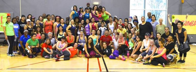 Zumba instructors and the public come together to dance, burn calories, and make a difference in the community. Photo provided by Brooks Family YMCA. Saturday, February 18, 2017.